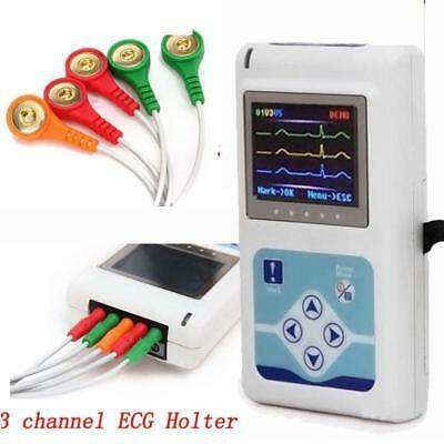 Dynamic 3-lead ECG Systems 24-hour recorder real-time store ECG data PC software