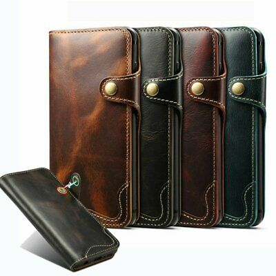 Genuine Magnetic Leather Flip Wallet Case Cover For Samsung Galaxy S10 Plus S10E