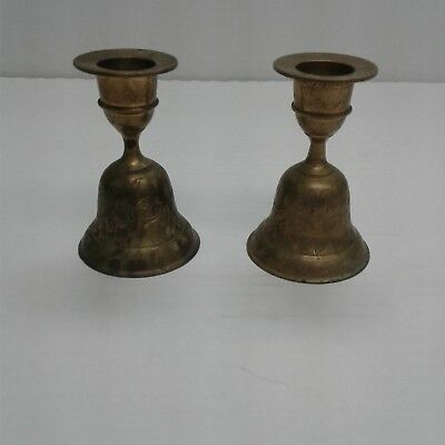 Pair Of Vintage Antique Solid Heavy Brass Etched BellCandle Holders