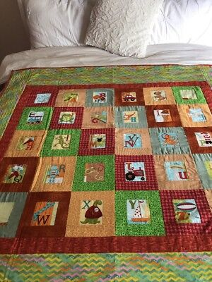 "Handmade Patchwork Quilt Little Boys  ABC's  size 51"" x 51"""