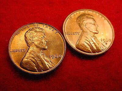 1960 P & D Small Date Lincoln Cents-2 Great Bu Coins!!!   #210