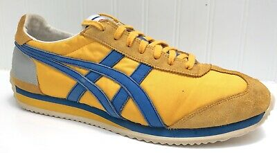 more photos 9f55b a33db RARE ASICS ONITSUKA TIGER Yellow w/Blue Men's Size 9 Athletic Shoes D110N