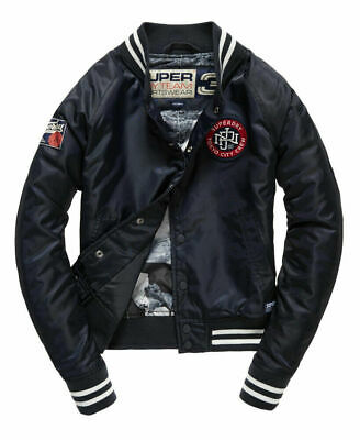 New Womens Superdry Captain Coach Jacket Solid Navy Size Medium