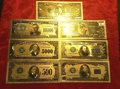 American Banknote $500 To $1Billion 7 Coloured 24K Gold Usa Bank Note Set