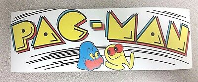 Pac Man white marquee sticker. 3 x 9. (Buy any 3 of my stickers, GET ONE FREE!)