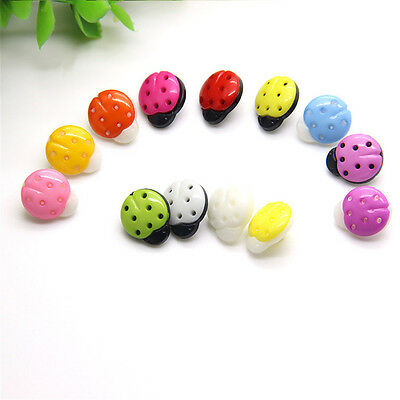 Top 100PCS 15MM Plastic Ladybird buttons Coat Boots Sewing Clothes Accessories