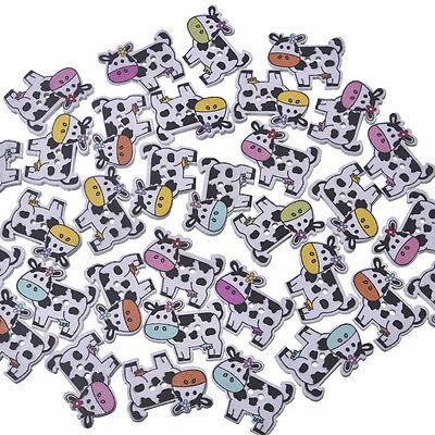 2 Hole 50pcs Cute Wooden Cow Scrapbook Wood Buttons Kids Clothing Craft 21*27mm