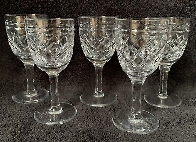 """Set of 5 Tudor Seymour Crystal Sherry or Port Glasses Approx 4 3/8"""" High Etched"""