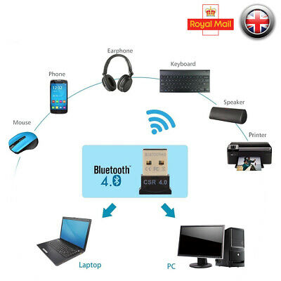 USB Bluetooth V4.0 CSR Wireless Dongle Adapter For Windows7/8/10 PC Laptop Mac
