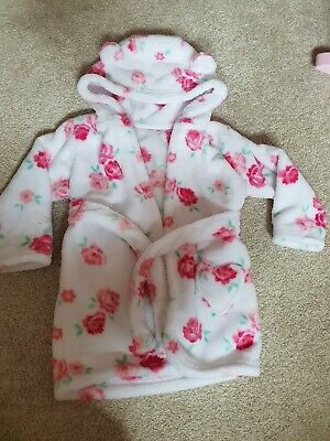 Baby Girls Floral Fleece Dressing Gown Age 9-12 Months