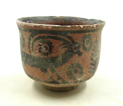 AUTHENTIC ANCIENT INDUS VALLEY TERRACOTTA CUP W/ STAG - l273