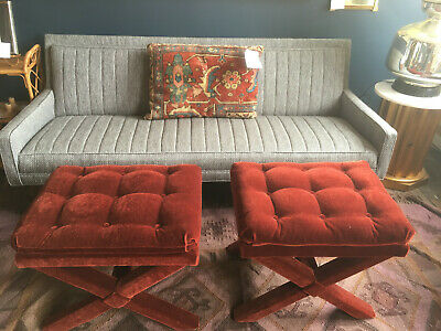 Vintage Pair Mid Century Modern Hollywood Regency Rust Mohair Tufted X Benches