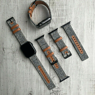 For Apple Watch Series 4 44mm Tweed Lining & Brown Calf Leather Strap Wrist Band