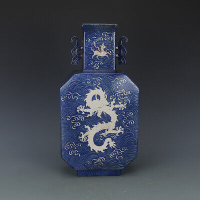 "16"" China antique Porcelain xuande blue white painting dragon double ear vase"