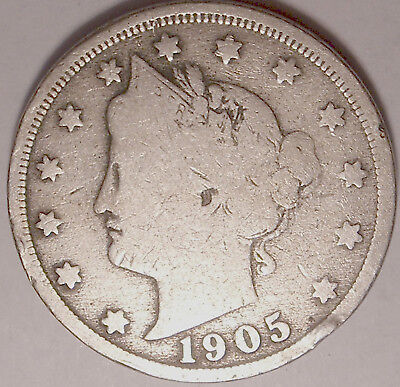 Free Shipping 1905 Liberty V Nickel  5 cent coin used , old ,vintage  L1211