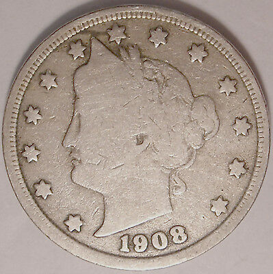 Free Shipping 1908 Liberty V Nickel  5 cent coin used , old ,vintage  L1213