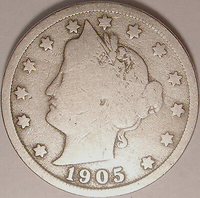 Free Shipping 1905 Liberty V Nickel  5 cent coin used , old ,vintage  L1210
