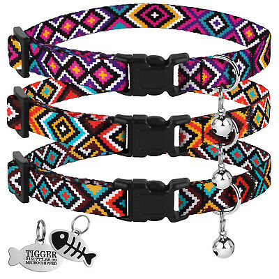 Breakaway Cat Collar Adjustable Collars for Cats Kitten Pet Safety with Bell