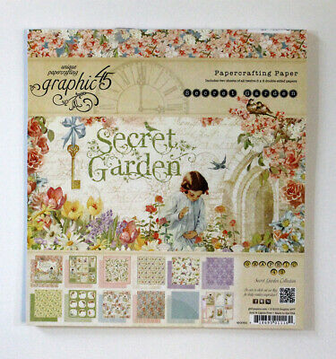 Graphic 45 Secret Garden 8 x 8 Paper Pad BRAND NEW Scrapbooking Floral RETIRED