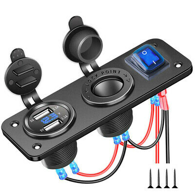 DC 12V Dual USB Car Charger Voltage Gauge Blue LED Rocker Switch Custom Socket
