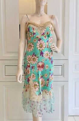 Ungaro Turquoise Silk & Leaver Lace Diamond Daisy Dress Brand New with tags