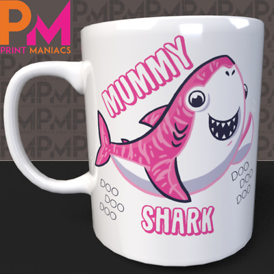 Baby Shark Doo Mummy Daddy Cute Personalised MUG Novelty Mothers Gift His Her
