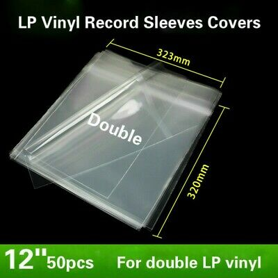 "50x 12"" Double LP Vinyl Record Sleeves Cover Album Outer Plastic Anti-Static Kit"