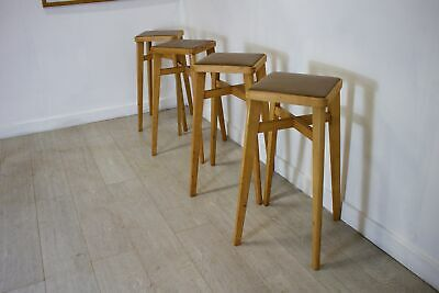 DELIVERY£60 Mid Century Retro Set Of 4 Ben Chair Beech Bar Stools