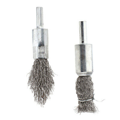 2Pcs Crimped Wire Brush 6mm Shank Pen Shape Wire End Brush for Drill