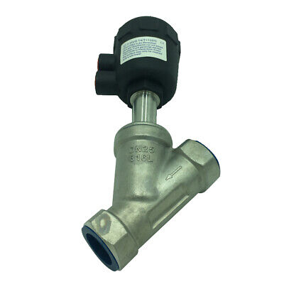 304 Stainless Steel Pneumatic Angle Seat Valve Air Actuated 2 Way DN25