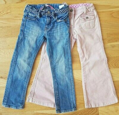 H&M Mini Boden 4-5 years denim trousers jeans girls blue pink velvet spotty