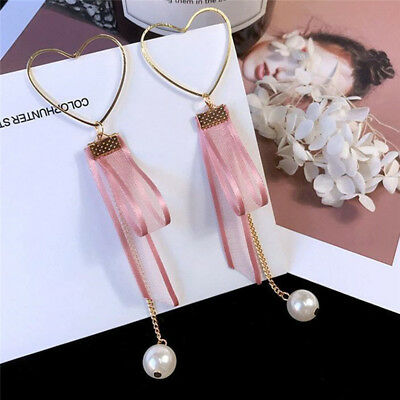 Chic Ladies Girls Hollow Out  Love Heart Silk Ribbon Simulate Pearl Earrings one