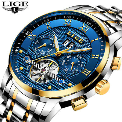 Lige Men's Luxury Automatic Mechanical Wristwatch Steel Stainless Blue Gold New