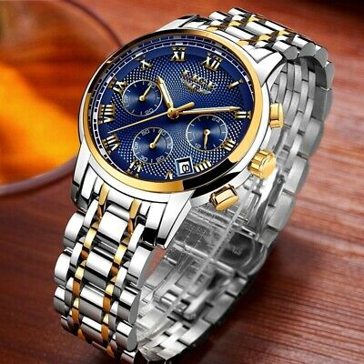 LIGE Mens Watches Luxury Water Resistant  Chronograph Quartz Date Business New