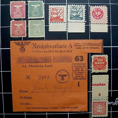 Germany WW2 Wehrmacht Bread ration stamps-NB-German 3rd Reich nazi era brot tags