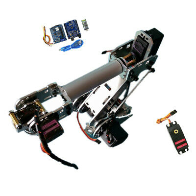 6 Axis Aluminium Robot Mechanical Arm Gripper Kit with Servo For Arduino DIY