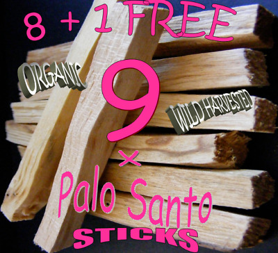 Palo Santo Holy Wood🌕 Organic Incense Sticks X 8 +1 Free = 9 + Pouch+ Charm