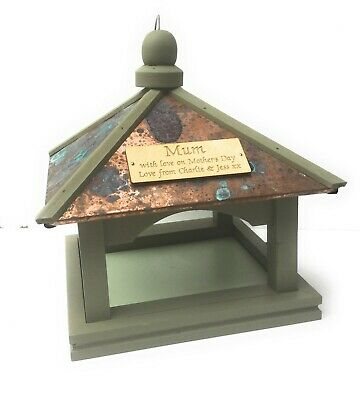 NATIONAL TRUST Bird Feeding Table, engraved with free Wooden message plate,