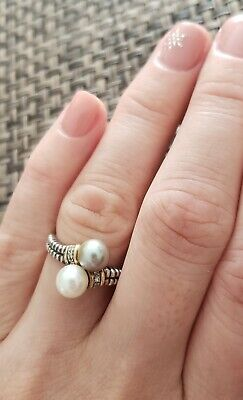 Vintage Genuine Grey White Pearls Diamonds 14K Gold Accent Bypass Ring 7.25