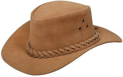 d952482531975 Australian Tan Western Style Cowboy Outback Real Suede Leather Aussie Bush  Hat