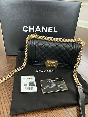 ea1d7f7fda0a CHANEL SMALL BOY Bag Black Quilted Lambskin Gold Hardware Chain ...