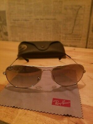 8eb79b0c1b3 Ray-Ban Men s Polarized Cockpit RB3362-004 58-59 Silver Aviator Sunglasses
