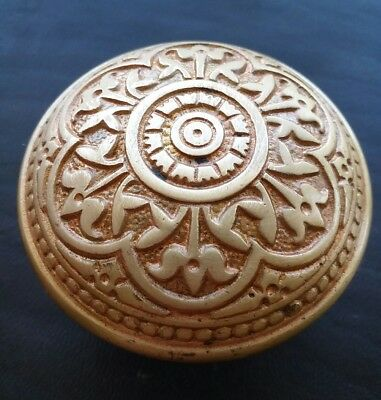 Antique Ornate Brass Bronze Door Knob - Victorian Eastlake Flower Floral Design