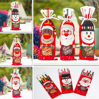 New Christmas Red Wine Bottle Cover Bags Santa Tree Dinner Party Gift Decor LH