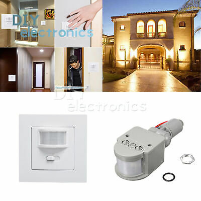 AC 220-240V 160° Infrared PIR Motion Sensor Recessed Wall Lamp Bulb Switch US
