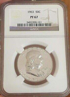 1963 Proof Franklin Half Dollar 50c ~ US Silver Coin NGC Certified PF 67  (161)