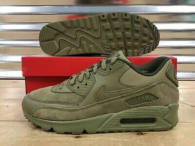 online store 00817 ab032 NIKE AIR MAX 90 Premium PRM Shoes Neutral Olive Green Leather SZ (  700155-202 )