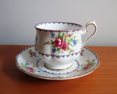 Royal Albert Petit Point Tea Cup & Saucer Set Gold Trim Hampton Shape England