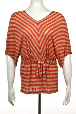 6caf296ac6db9 Ella Moss Top Size XS Red Striped Knit Shirt V-Neck Batwing Sleeve Casual