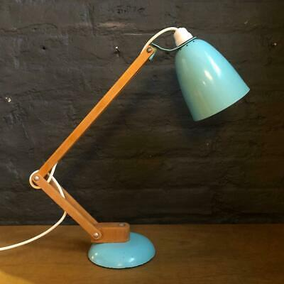 Vintage Maclamp Conran Habitat Midcentury Desk Lamp Turquoise Wooden Arms #2605